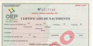 El certificado que muestra a Morales como padre. Foto: @JohnArandia
