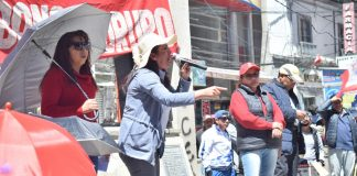 Ejecutiva del Magisterio Urbano en Oruro, Gardenia Cortés. Foto. LA PATRIA /Reynaldo Bellot.