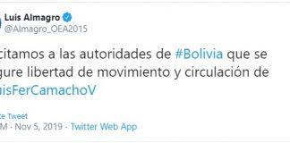 Almagro publicó al respecto en su cuenta de Twitter. Captura de pantalla.