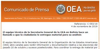 Comunicado de la OEA. Foto: @OEA_oficial.