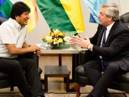 Evo Morales y el presidente electo de Argentina Alberto Fernández. Foto: caraotadigital.