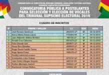 Lista de inscritos a postulantes para vocales del TSE. Foto: Senado Bolivia.